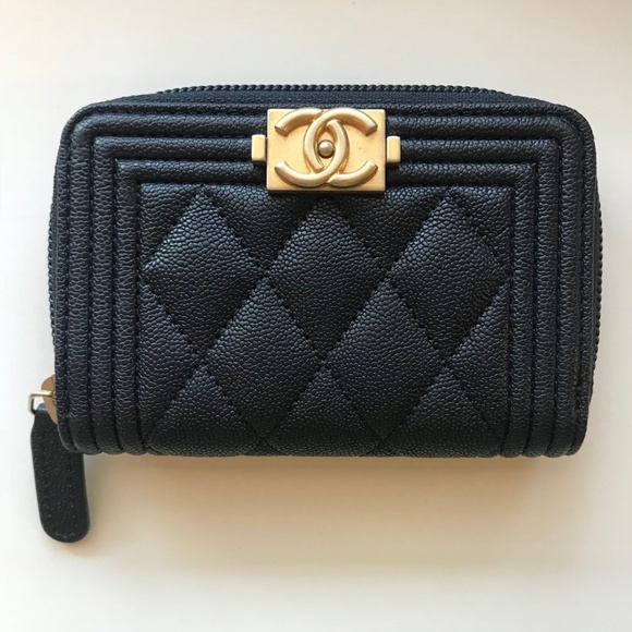 e76f3cdb0750 CHANEL Accessories | Navy Caviar Boy Zip Coin Purse Card Holder ...